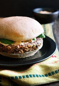Spicy Black Bean Burger with Chipotle Mayonaise